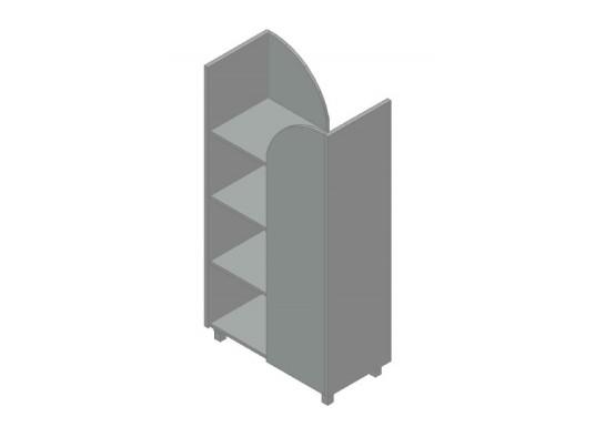 Стеллаж двусторонний без опор, цв. металлик, 888х450х1718