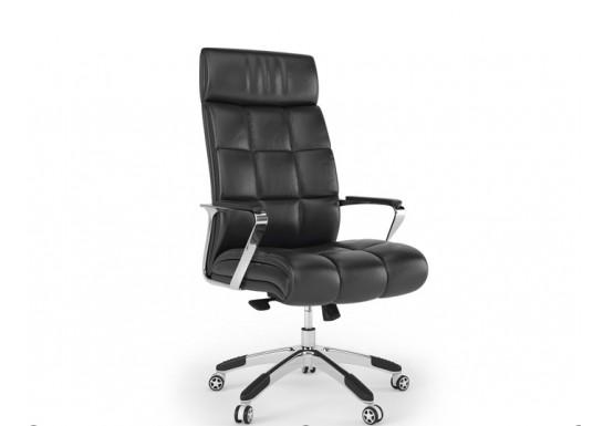 Кресло руководителя, цв. чёрная кожа, Plaza