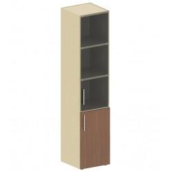 Шкаф-колонка со стеклом, цв.дуб онтарио и бежевый, 1947*442*400