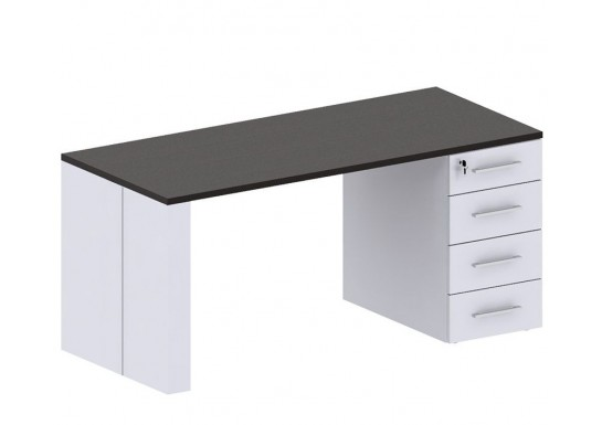 Стол письменный с тумбой, цв.дуб толедо и белый, 1600x700x740 мм