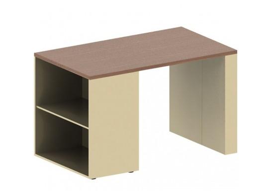 Стол с открытой тумбой левый, цв. дуб онтарио и бежевый, 1200x700x740 мм