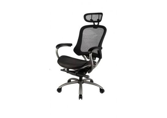 Кресло руководителя EChair-PICASSO-E (сетка черная, металл)