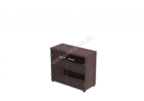 Шкаф низкий со стеклом, цв. тёмный орех, 90*40*78