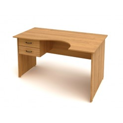 Стол эрго с подвесной тумбой, цв. миланский орех, 1602х902(702)х750