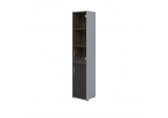 Шкаф со стеклом, цв. венге/металл, 406х365х1975